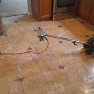 The most important phase of cleaning tile is the scrubbing. Without that it doesn't clean it as well