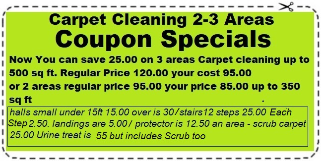 Carpet Cleaning Coupon Specials 2 to 3 Areas