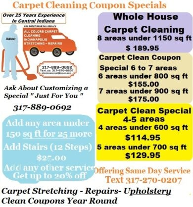 Carpet Cleaning Special 2-8 Areas